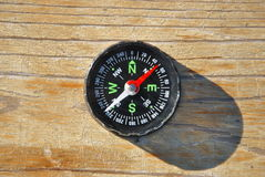 Black compass with green signs Royalty Free Stock Photography