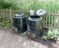 Black Compost Bins Stock Photography