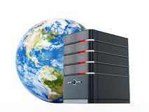 Black computer case in front of the earth model. 3D illustration Royalty Free Stock Photos
