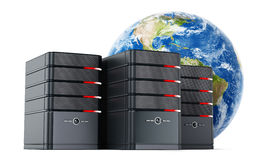 Black computer cases in front of the earth model. 3D illustration Royalty Free Stock Image
