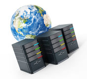 Black computer cases in front of the earth model. 3D illustration Royalty Free Stock Photo