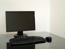 Black computer on the desk Royalty Free Stock Photography