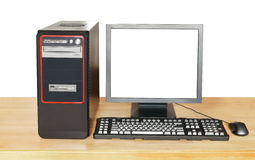 Black computer and display with cut out screen Stock Photo