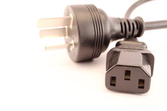 Black computer electric plug Royalty Free Stock Image