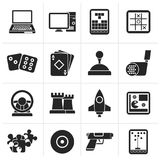 Black Computer Games tools and Icons. Vector icon set Royalty Free Stock Photography