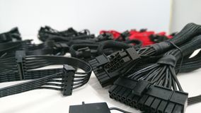 Black computer gaming cables wires Stock Image