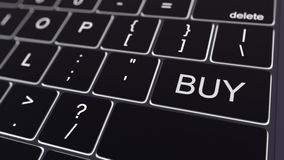 Black computer keyboard and glowing buy key. Conceptual 3D rendering Royalty Free Stock Photos
