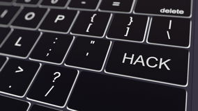Black computer keyboard and glowing hack key. Conceptual 3D rendering Royalty Free Stock Photo