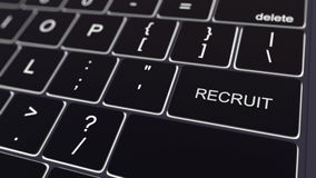 Black computer keyboard and glowing recruit key. Conceptual 3D rendering Royalty Free Stock Photo