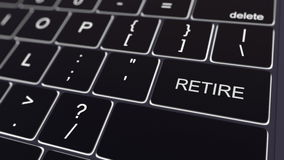 Black computer keyboard and glowing retire key. Conceptual 3D rendering. Black computer keyboard and glowing retire key. Conceptual 3D Stock Photography