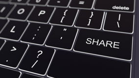Black computer keyboard and glowing share key. Conceptual 3D rendering Royalty Free Stock Images
