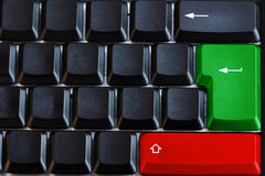 Black computer keyboard with green and red button Stock Images