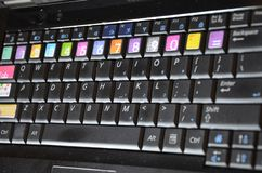 Black computer keyboard. With Keyboard stickers Royalty Free Stock Photos