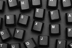 Black computer keys. Black and White. Close-up Stock Photography