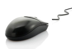 Black computer mouse Stock Photo