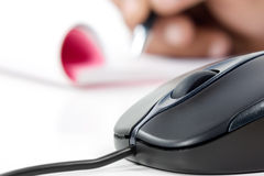 Black Computer Mouse And Writing Pad Stock Images
