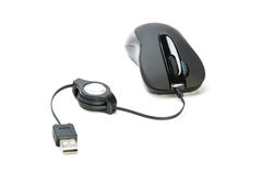 Black computer mouse with cable and plug Stock Photography
