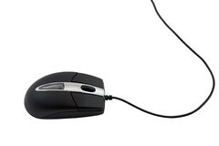 Black computer mouse on white background. Stock Images