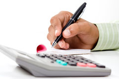 Black computer mouse and writing pad Stock Image