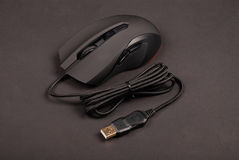 Black computer optical mouse Stock Photography