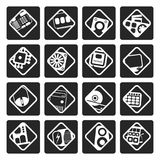 Black Computer  performance and equipment icons. Vector icon set