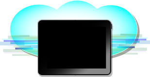 Black computer tablet with blue wireless cloud Royalty Free Stock Photo