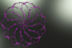 Black concentric spiral flower shape with violet glowing element Royalty Free Stock Image