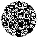 Black concept of human world. Human world concept. Planet Earth made of 100  icons set in black color Stock Photos