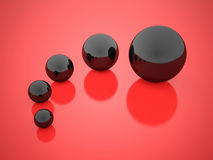 Black concept spheres with reflection Royalty Free Stock Image