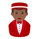 Black Concierge Man Avatar Flat Icon Stock Photos