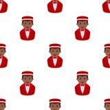 Black Concierge Man Seamless Pattern Stock Photography