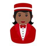Black Concierge Woman Avatar Flat Icon Royalty Free Stock Photo