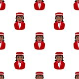 Black Concierge Woman Seamless Pattern Stock Images