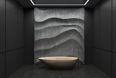 Black and concrete bathroom, wooden tub. Black panel bathroom interior with a concrete floor, a wooden tub, a concrete wavy decoration element on a wall. 3d vector illustration