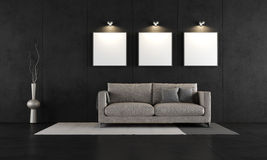 Free Black Concrete Room With Modern Couch Royalty Free Stock Image - 39859536