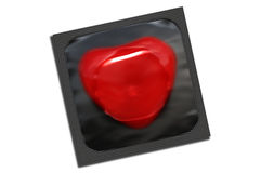 Black condom package with heart shape Stock Photography