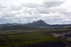 Black cone-shaped crater of the extinct volcano Nverfjall in Iceland Stock Photo