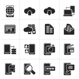 Black Connection, communication and mobile phone icons. Vector icon set Stock Photography