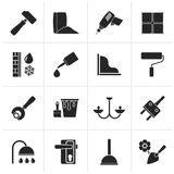 Black Construction and building equipment Icons Stock Image