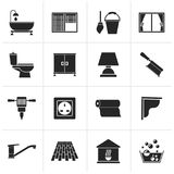 Black Construction and building equipment Icons Royalty Free Stock Photography