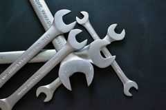 Wrench close-up on black background royalty free stock photos