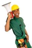 Black construction worker Stock Image