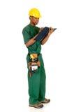 Black construction worker Stock Photo
