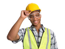 Black Construction Worker Holding Hardhat Portrait