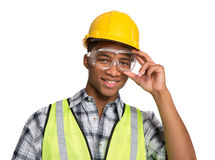 Black Construction Worker Holding Hardhat Portrait Stock Images