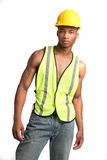 Black Construction Worker Standing Portrait Stock Photos