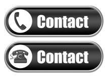 Black contact buttons Royalty Free Stock Photos