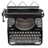 Black Continental Typewriter on White Surface Royalty Free Stock Photos
