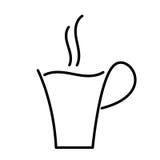 Black contour coffee Cup. Royalty Free Stock Photos