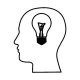 black contour human face with bulb light in mind Royalty Free Stock Photos